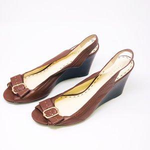 Coach Shoes - COACH CIARA Brown Leather Slingback Wedge-Size 10B